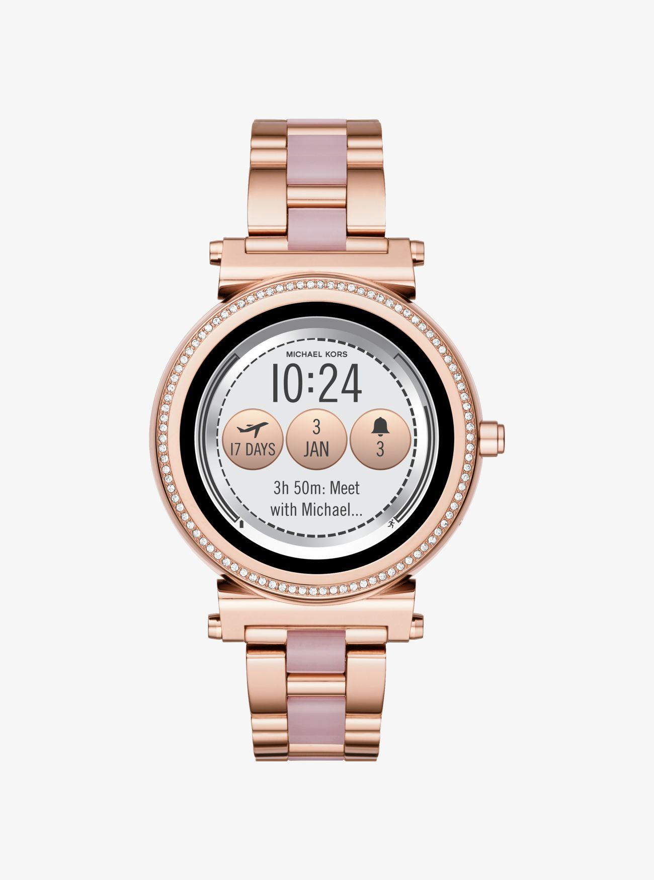 Smartwatch Sofie In Acetato Con Pavè Tonalità Oro Rosa   Michael Kors 52834a8cec