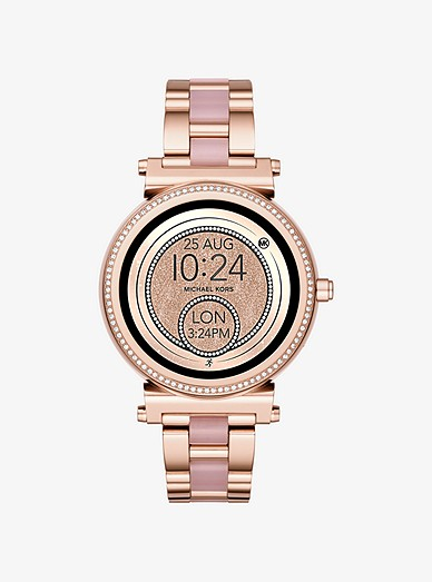 Sofie Pave Rose Gold Tone And Acetate Smartwatch Michael Kors