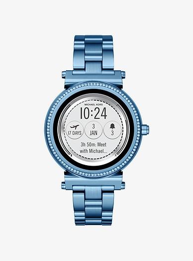 sofie pavé blue tone smartwatch michael kors