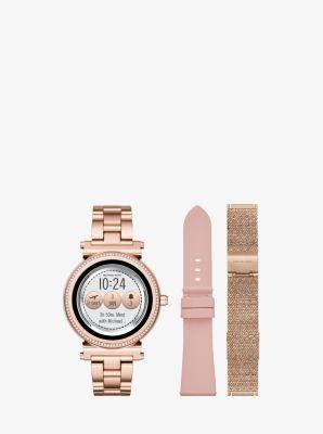 Sofie Pave Rose Gold Tone Smartwatch Set Michael Kors