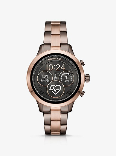 Runway Heart Rate Two Tone Smartwatch Michael Kors