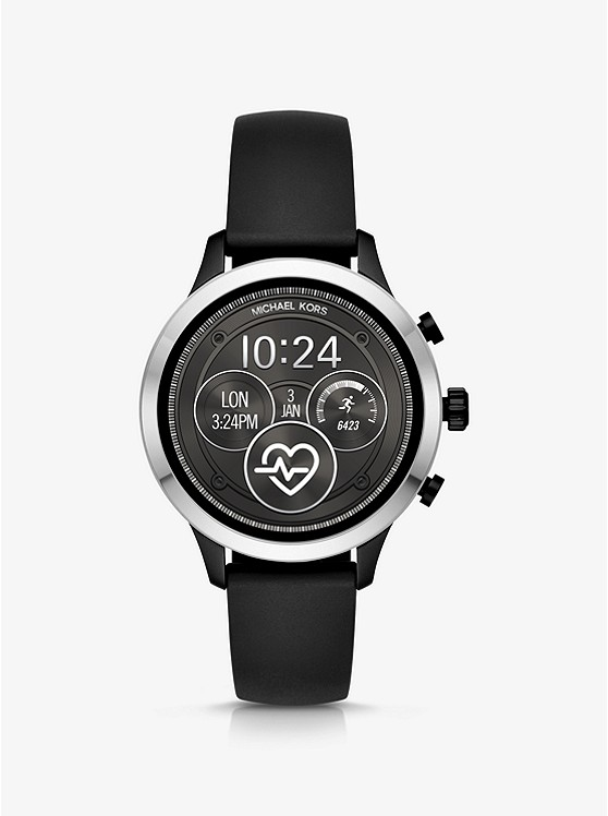 Runway Heart Rate Silver Tone And Silicone Smartwatch by Michael Kors Access