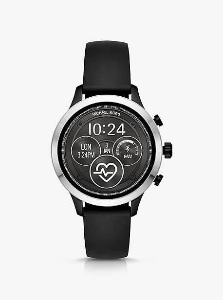 Runway Silver-Tone and Silicone Smartwatch