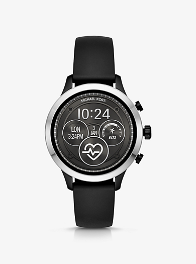 39f9b59fa367a Runway Silver-Tone and Silicone Smartwatch. michael kors ...