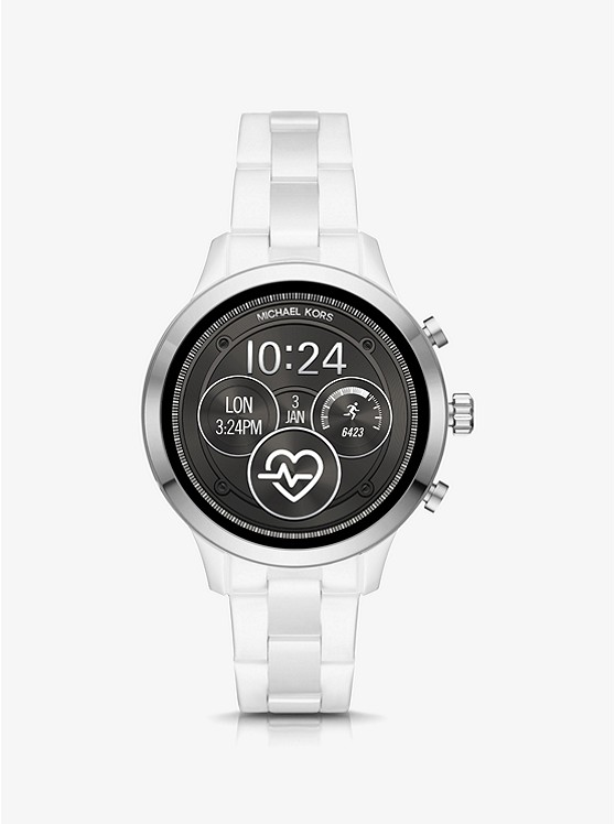 1386db49c Runway Heart Rate Silver-tone And Ceramic Smartwatch   Michael Kors