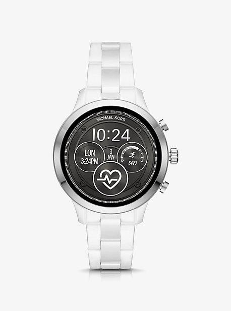 44721936e68d Runway Silver-Tone and Ceramic Smartwatch. michael kors ...