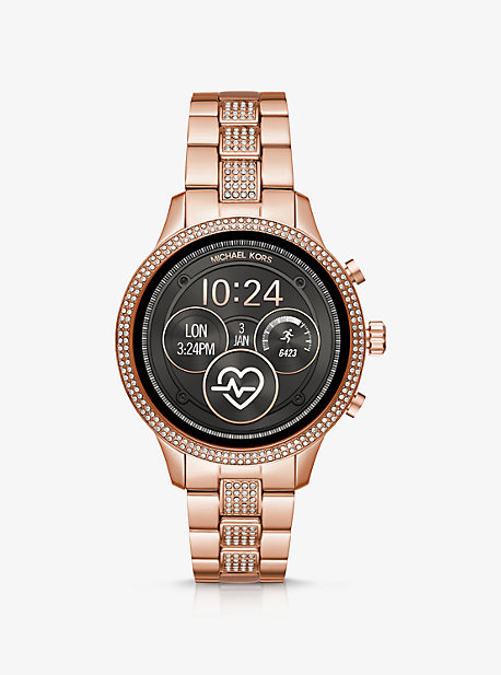 633faa169f52 Runway Pavé Rose Gold-Tone Smartwatch · michael kors access · Runway Pavé  Rose Gold-Tone Smartwatch