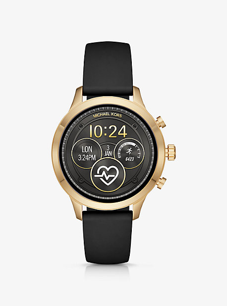 579e32586682 Runway Gold-Tone and Silicone Smartwatch · michael kors ...
