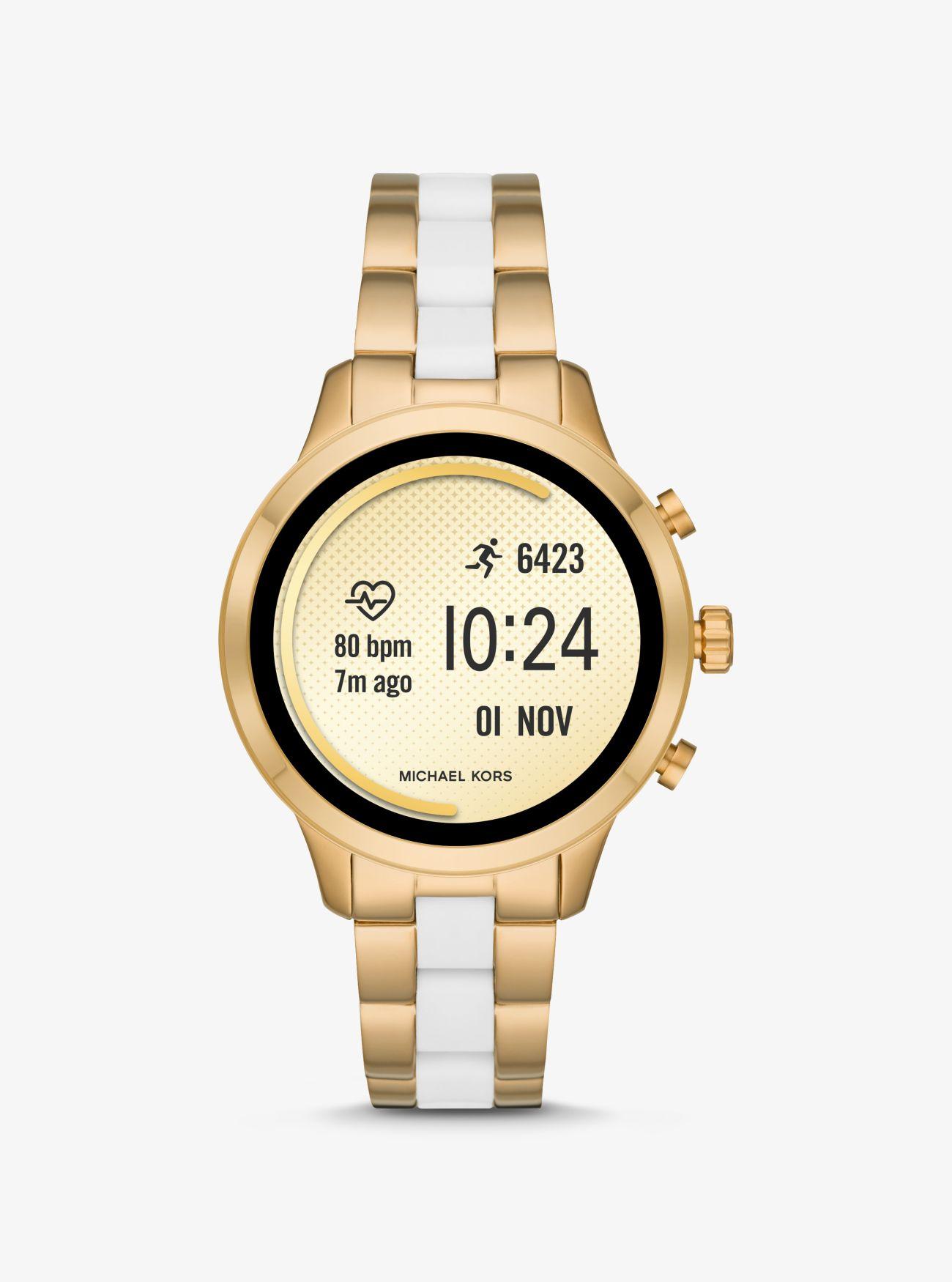 780e2f80ac58 ... Reloj inteligente Runway Heart Rate en tono dorado de silicona. Michael  Kors Access