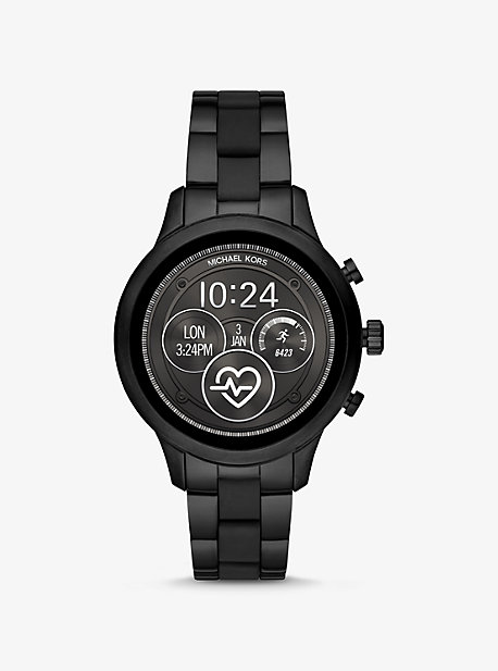 5f7540b7a Runway Heart Rate Black-Tone and Silicone Smartwatch. michael kors ...