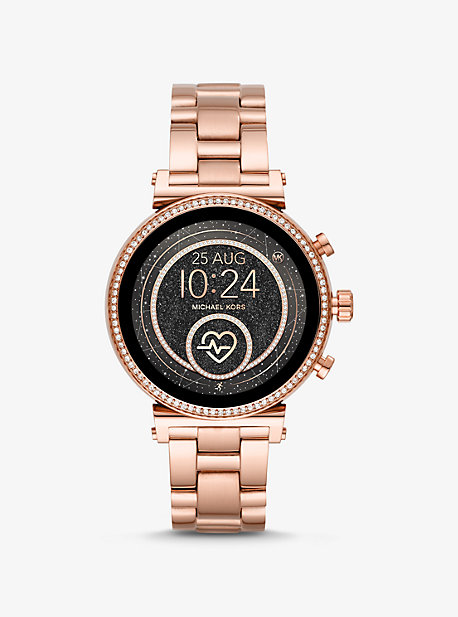 64c1685996 Sofie Heart Rate Rose Gold-Tone Smartwatch. michael kors access · Sofie ...
