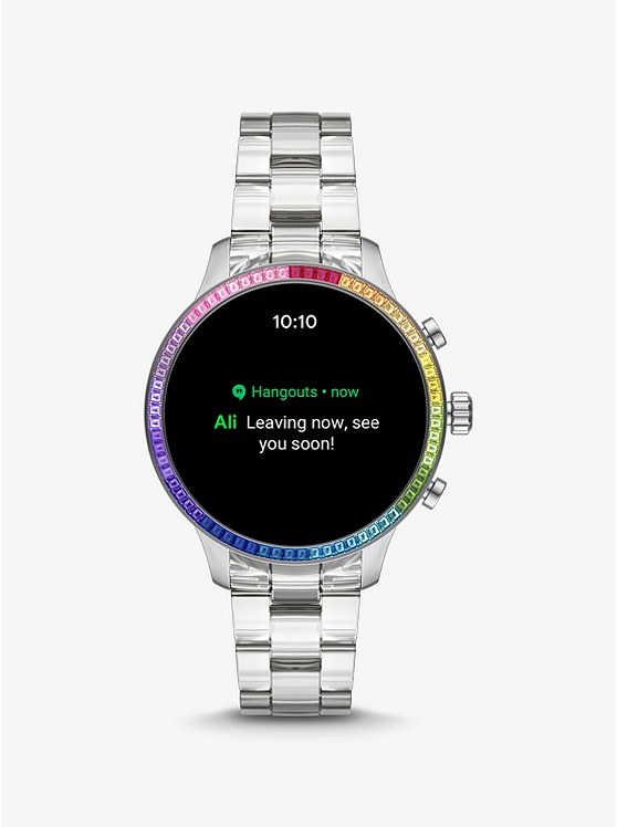 Runway Heart Rate Acetate And Rainbow Pavé Smartwatch