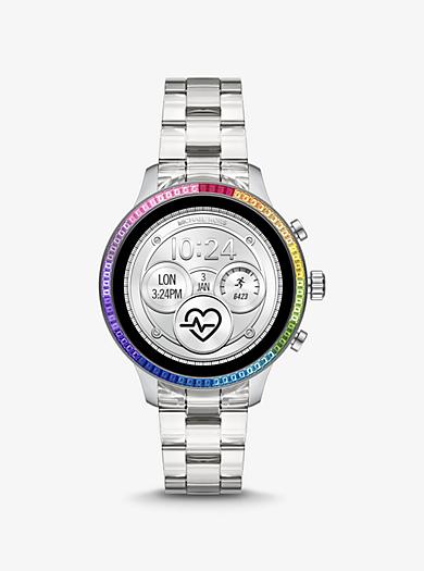 4bf3515a609c Reloj inteligente Runway Heart Rate de acetato con incrustaciones tipo  arcoíris