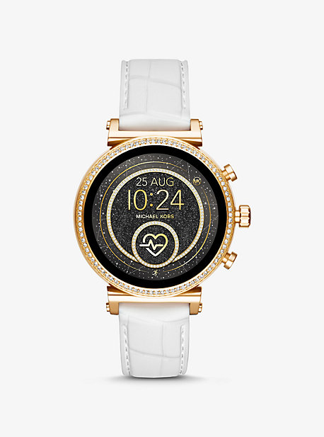 6ca045f7da63 Sofie Heart Rate Gold-Tone and Embossed Silicone Smartwatch. michael kors  ...