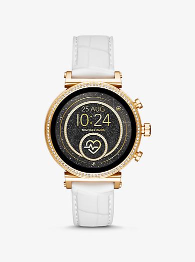 70951fafd8ce Reloj inteligente Sofie Heart Rate en tono dorado de silicona en relieve
