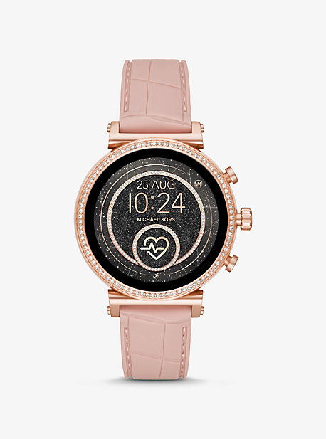612761a34f6e Sofie Heart Rate Rose Gold-Tone and Embossed Silicone Smartwatch