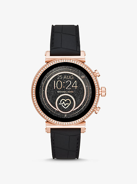 f678727855bd Sofie Heart Rate Rose Gold-Tone and Embossed Silicone Smartwatch