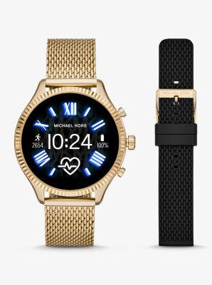 마이클 코어스 스마트 워치 Michael Kors Gen 5 Lexington Gold-Tone Smartwatch Gift Set,GOLD