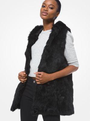 마이클 마이클 코어스 시어링 후드 조끼 Michael Michael Kors Shearling Hooded Vest,BLACK