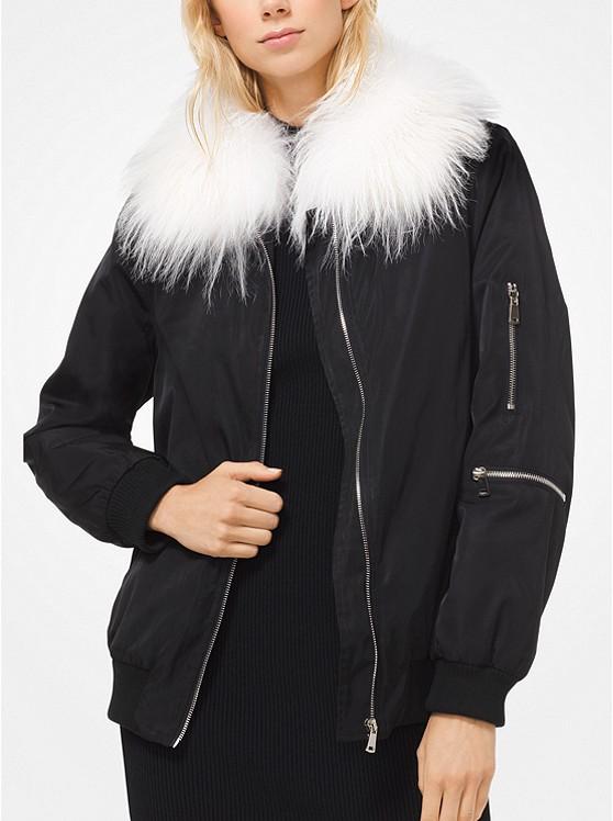 Michael Kors Goat Hair Collar Bomber Jacket