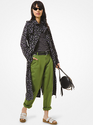 Trench in cady con motivo floreale