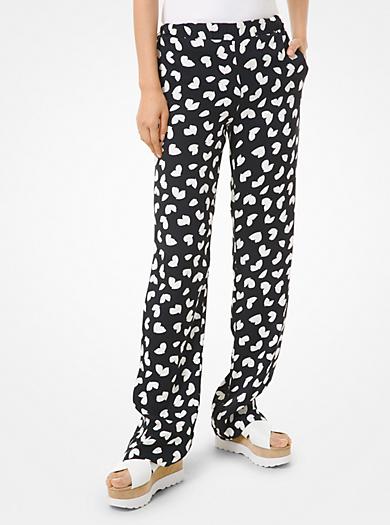Pantaloni pigiama in viscosa con motivo petali