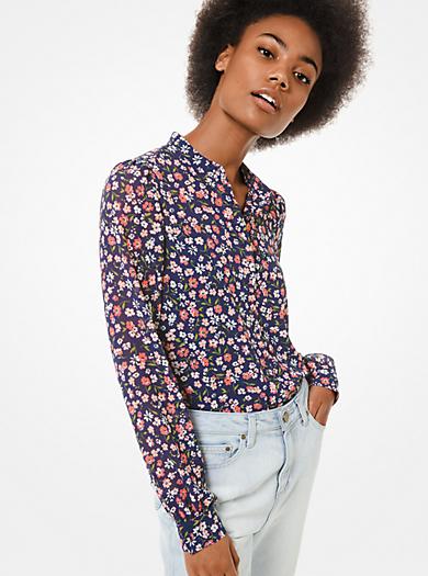 Camicia in georgette con motivo floreale