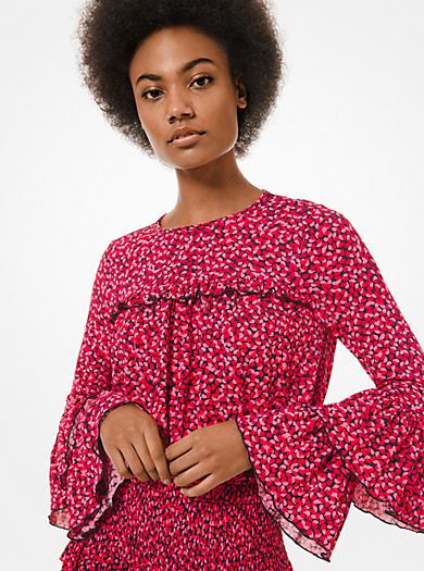 Blusa in viscosa stretch con maniche a campana e motivo petali
