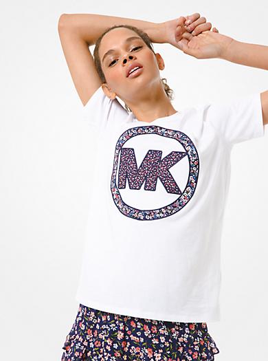 T-shirt in jersey di cotone con logo floreale