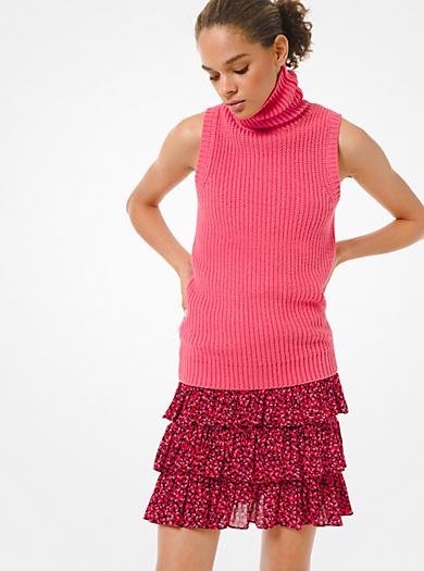 Pullover smanicato in misto cotone