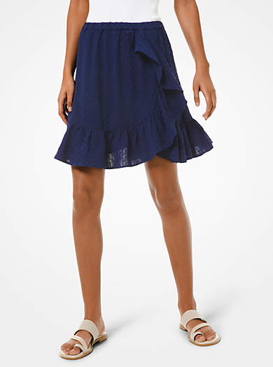 Dot Jacquard Ruffled Mini Skirt