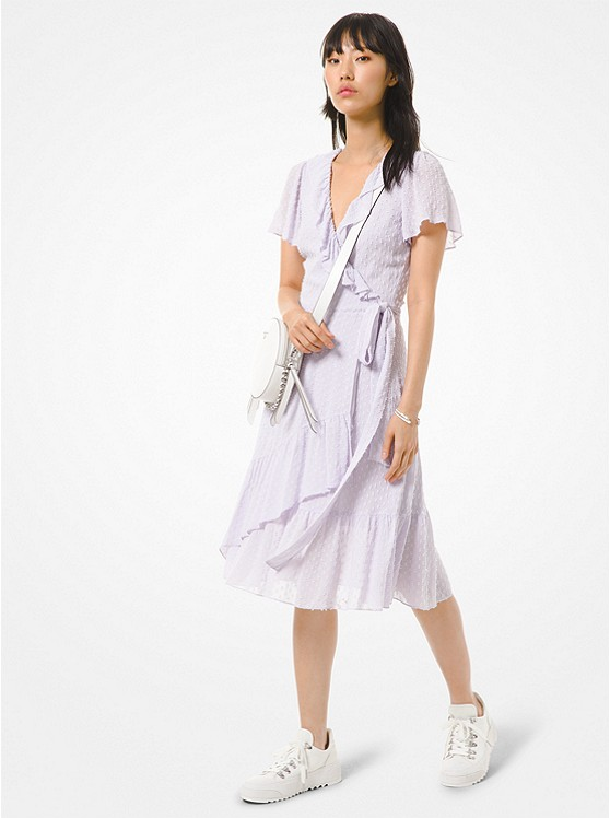 Michael Michael Kors Women's Dot Jacquard Ruffled Wrap Dress