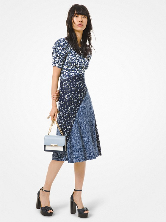 Mixed Floral Matte Jersey Ruched-Sleeve Dress
