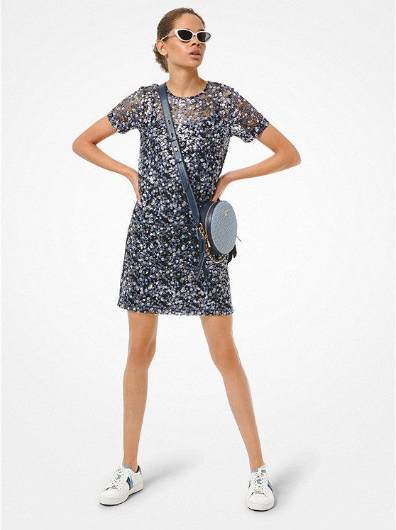 Floral Sequined T-Shirt Dress