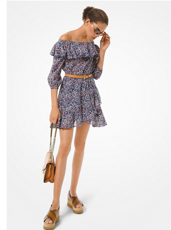 Floral Cotton Lawn Off-the-Shoulder Dress