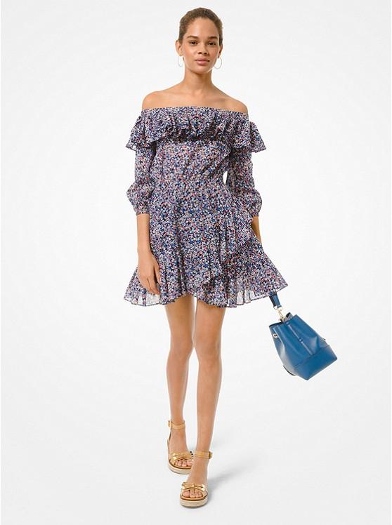 Floral Cotton Lawn Off-the-Shoulder Dress