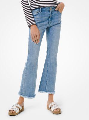 마이클 마이클 코어스 하이라이즈 스트레치 데님 진 (김희애 착용) Michael Michael Kors Stretch Denim High-Rise Frayed Jeans, MEDIUM WASH