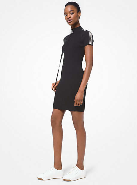 마이클 마이클 코어스 원피스 Michael Michael Kors Logo Tape Ribbed Stretch Viscose Half-Zip Dress,BLACK