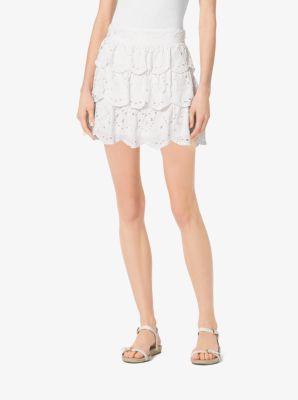 f5857179ebbf Scalloped Eyelet-Embroidered Cotton Skirt   Michael Kors