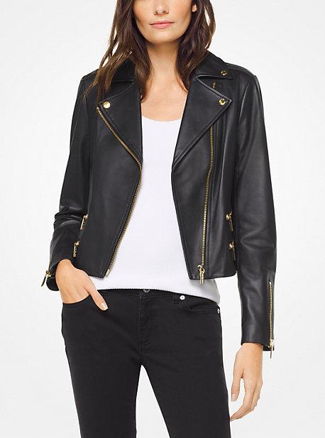 마이클 마이클 코어스 바이커 자켓 Michael Michael Kors Leather Biker Jacket,BLACK