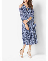 Floral-Print Peekaboo Tie-Neck Dress