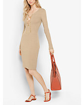 Ribbed Lace-Up Dress