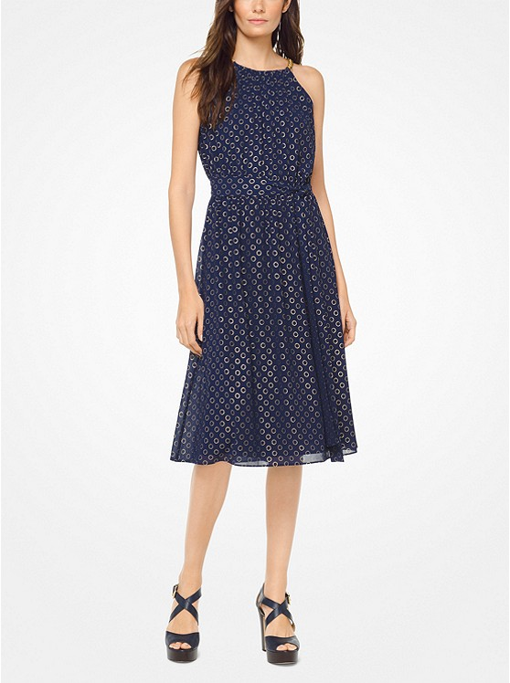 Chain-Link Dot Chiffon Dress
