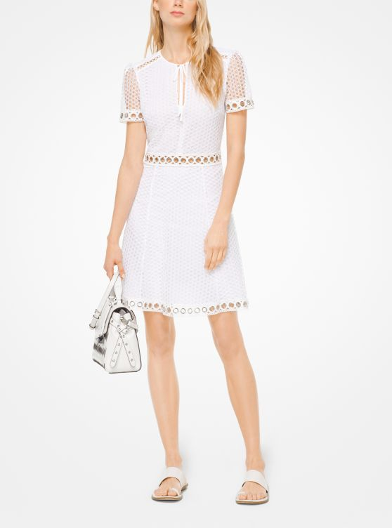 Grommeted Dot Lace Dress by Michael Michael Kors