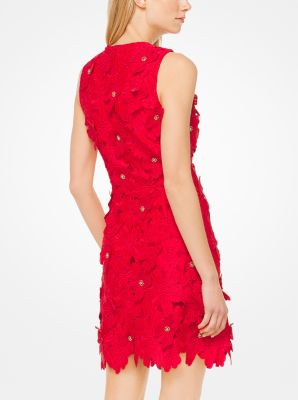 Red Lace Dress with Flowers