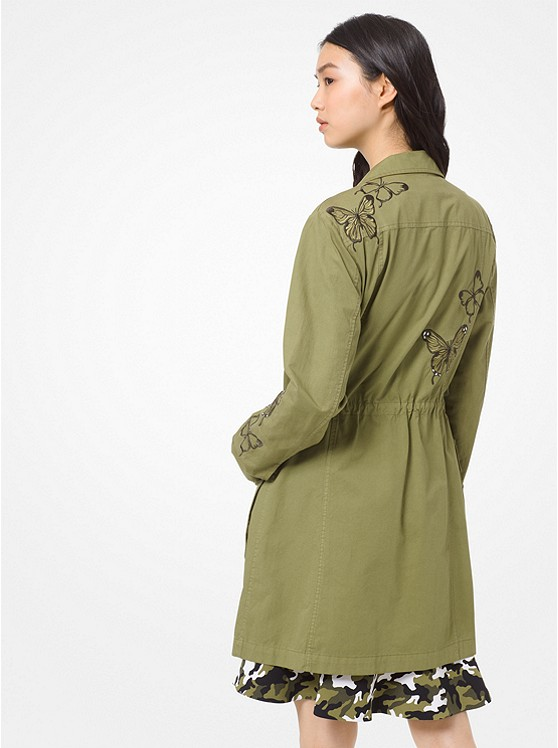 Butterfly Embroidered Lightweight Twill Cargo Jacket