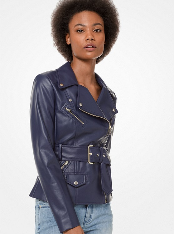 e0bf20c2b88 Faux Leather Belted Moto Jacket