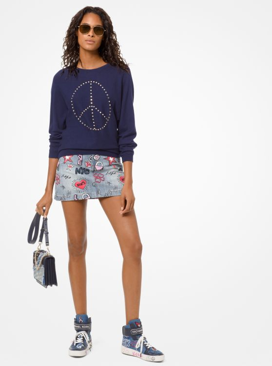Peace Studded Cotton-Blend Pullover