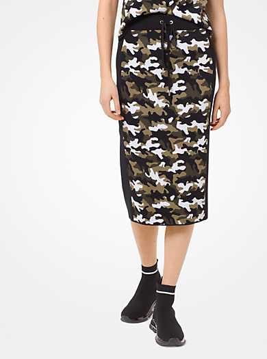 Falda de jacquard de viscosa elástica con estampado de camuflaje 176d0e0ea827