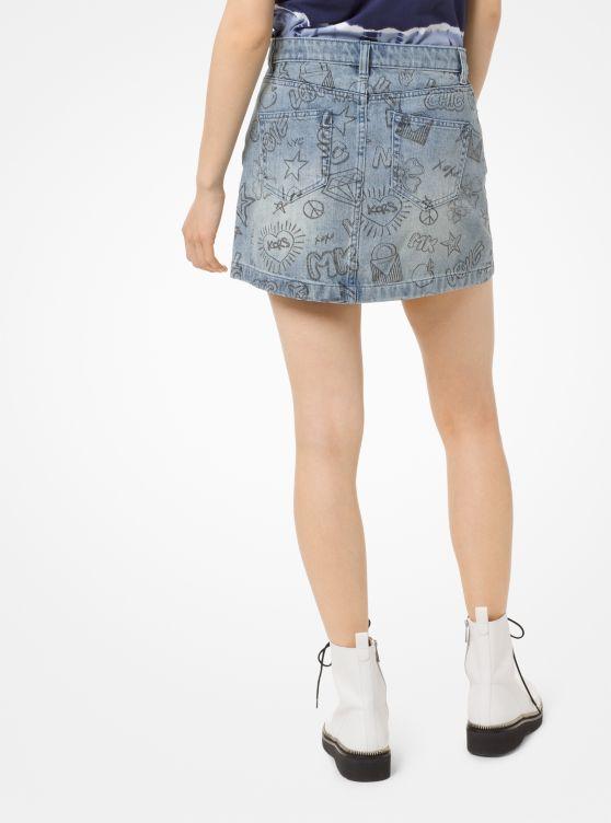 Sketch-Print Denim Mini Skirt
